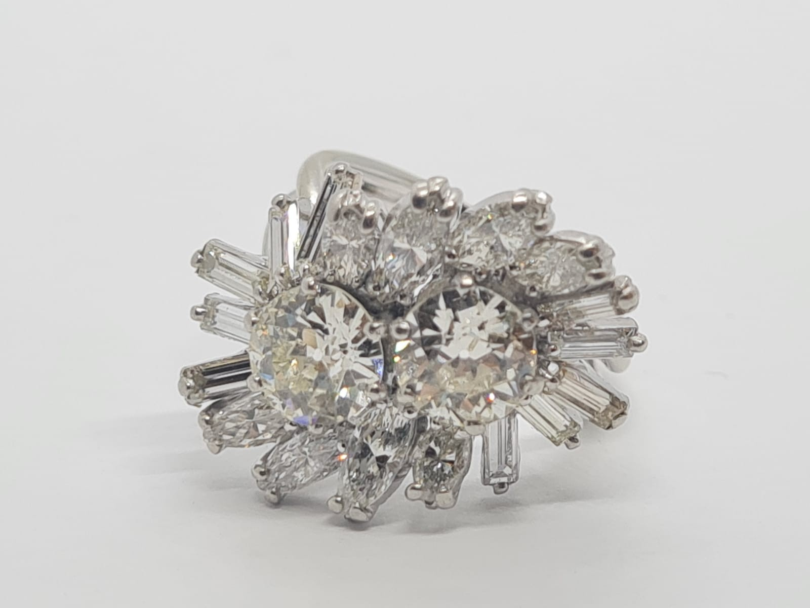 18k white gold diamond cluster ring with approx over 5ct diamonds in total, weight 10g and size M1/2 - Image 7 of 11