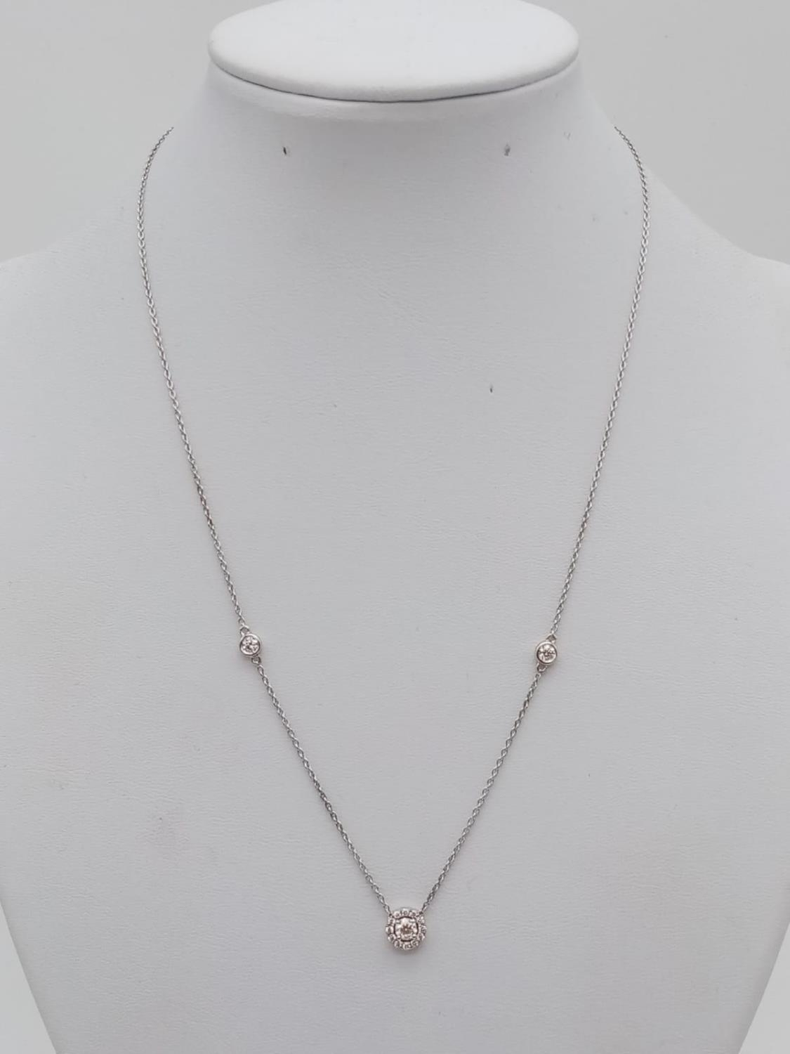 An elegant 14k white gold diamond necklace, weight 2.5g and approx 0.50ct diamonds chain 43cm long - Image 2 of 5