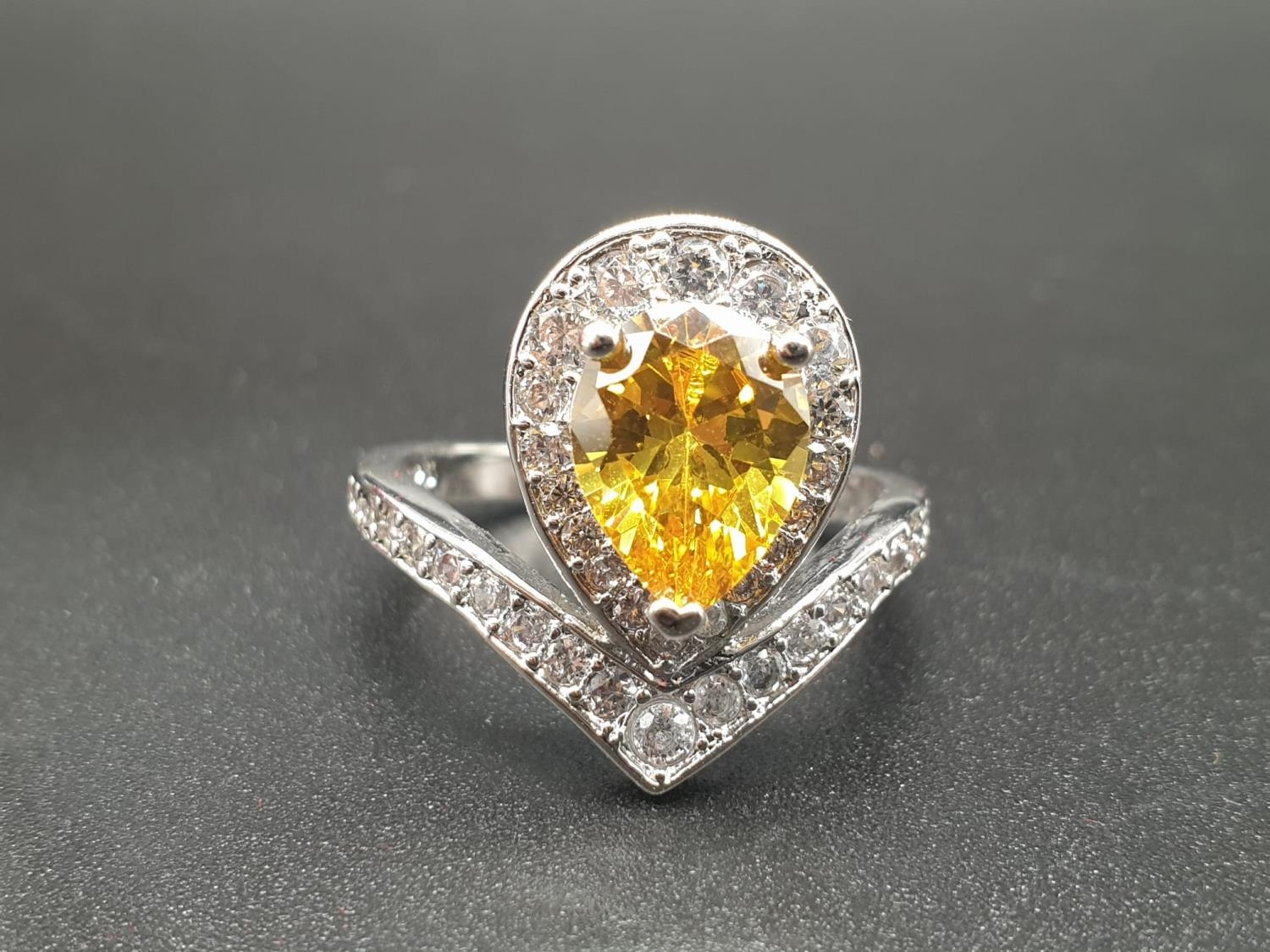 A white metal ring and earrings set with yellow topaz and clear sapphires. Ring size: N. Presented - Image 2 of 12
