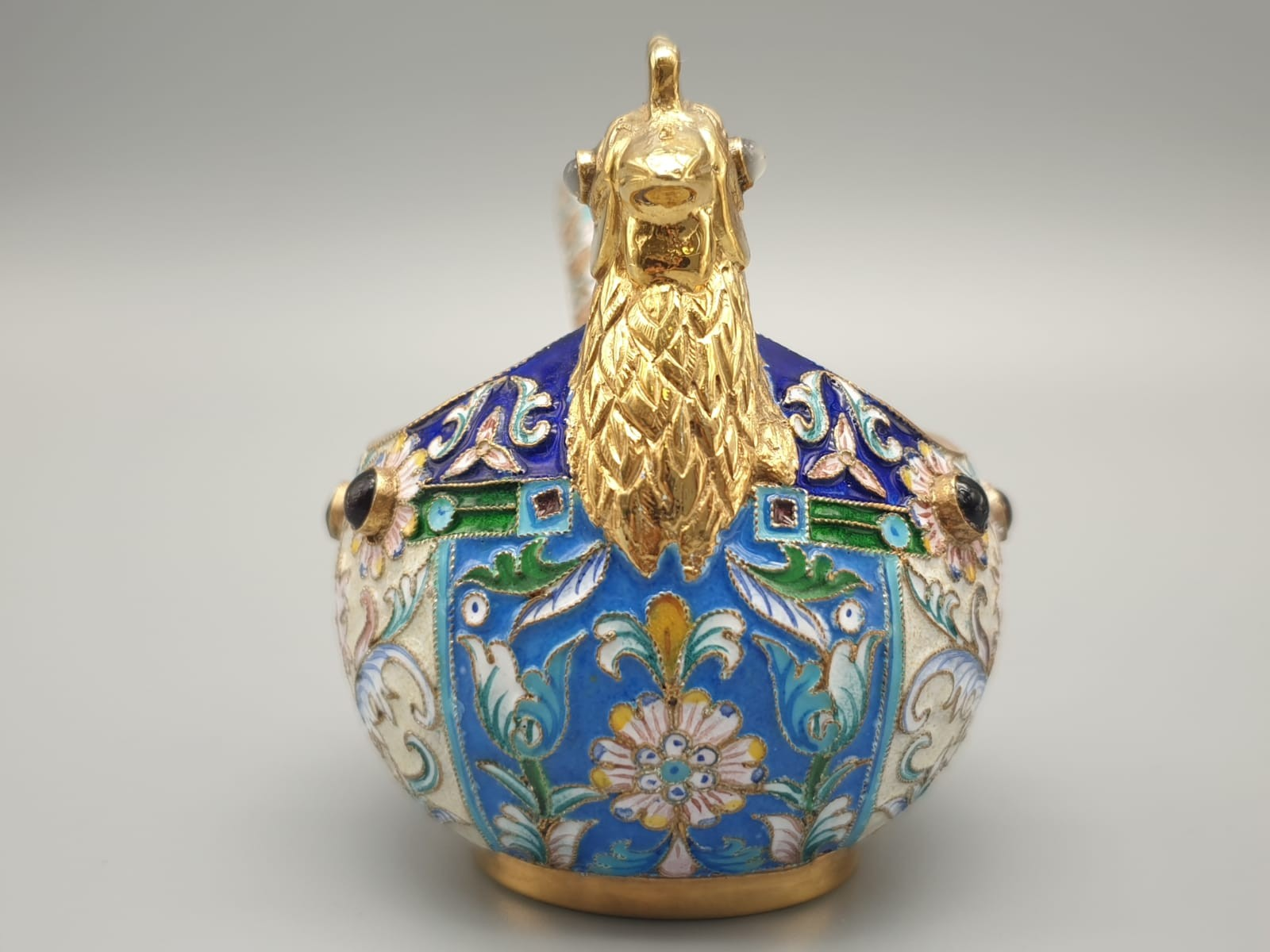 Pair of Russian 20th century silver enamel gemset kavosch bowl in the form of birds, an exquisite - Image 5 of 29