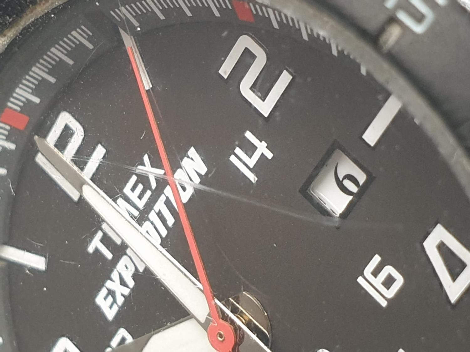 Timex Expedition Watch. Black rubber strap. Black dial. As found. - Image 4 of 9