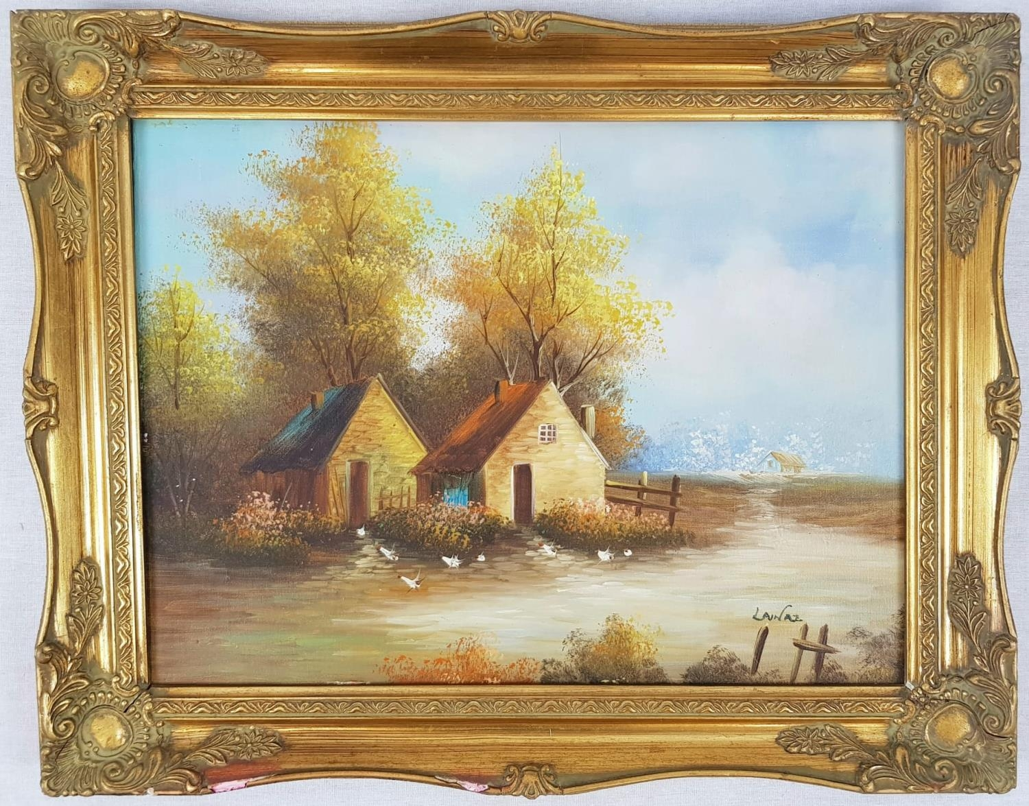 Oil on Canvas - Twin Cottages in Autumn. Signed by unknown artist, gilded frame. 50 x 39cm