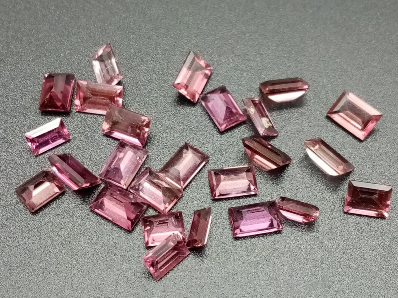 Twenty four pink tourmaline rectangle cut 6x4mm total carats 11.87