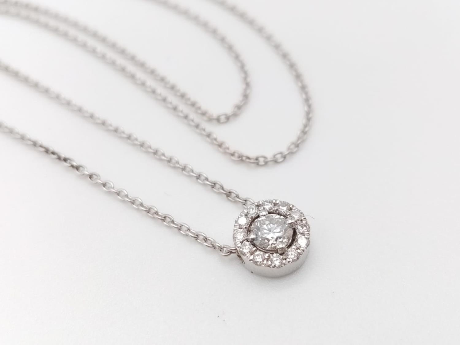 An elegant 14k white gold diamond necklace, weight 2.5g and approx 0.50ct diamonds chain 43cm long - Image 4 of 5