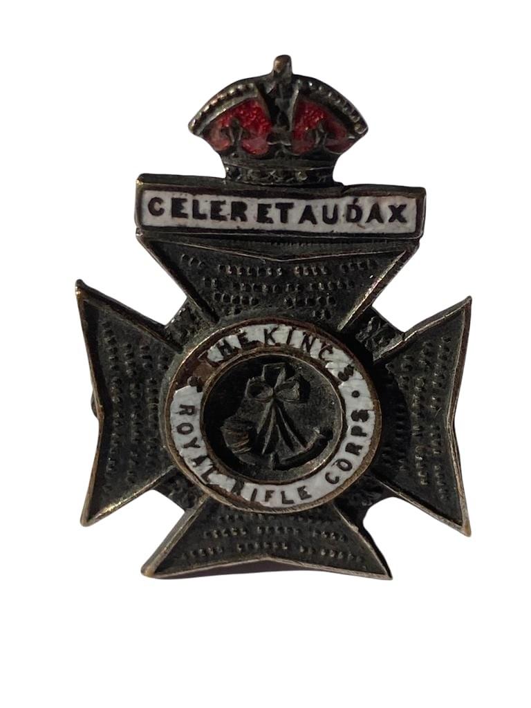Vintage Kings Royal rifle corps sweetheart brooch ,having white enamel work on brass background.