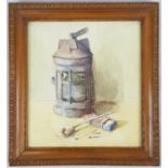 Water Colour Painting of an Antique Lamp by an unknown Dutch Artist. In Frame. 36 x 40cm