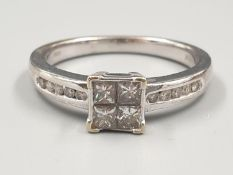 18K WHITE GOLD DIAMOND CLUSTER RING APPROX 0.45CT DIAMONDS WEIGHT 4.5G SIZE Q