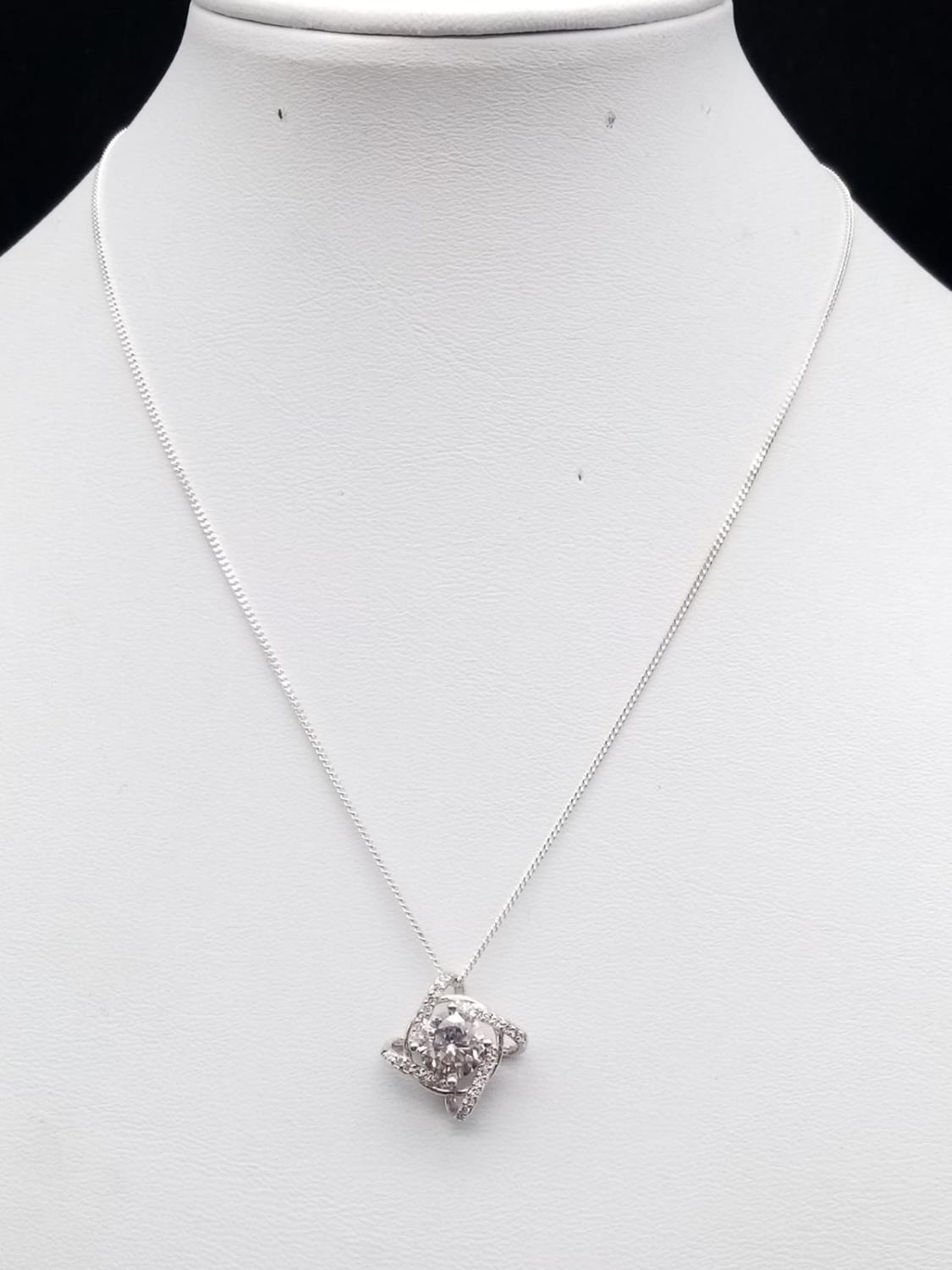 Sterling Silver Stone Set Pendant Necklace on sterling Silver Chain in presentation box. 36cm. 3g - Image 2 of 7