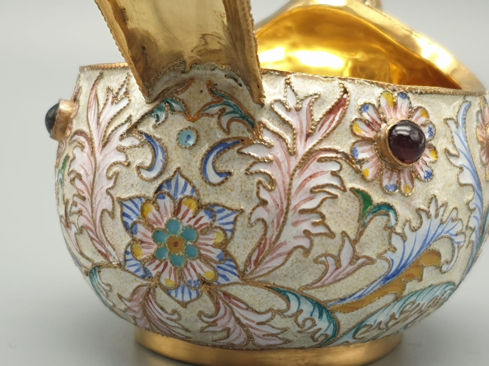 Pair of Russian 20th century silver enamel gemset kavosch bowl in the form of birds, an exquisite - Image 27 of 29