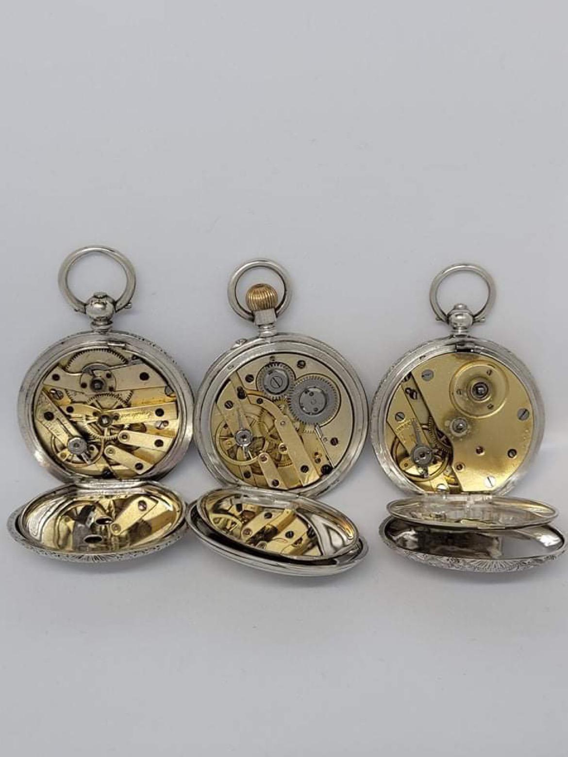 3x Antique silver pocket watch AF - Image 2 of 4