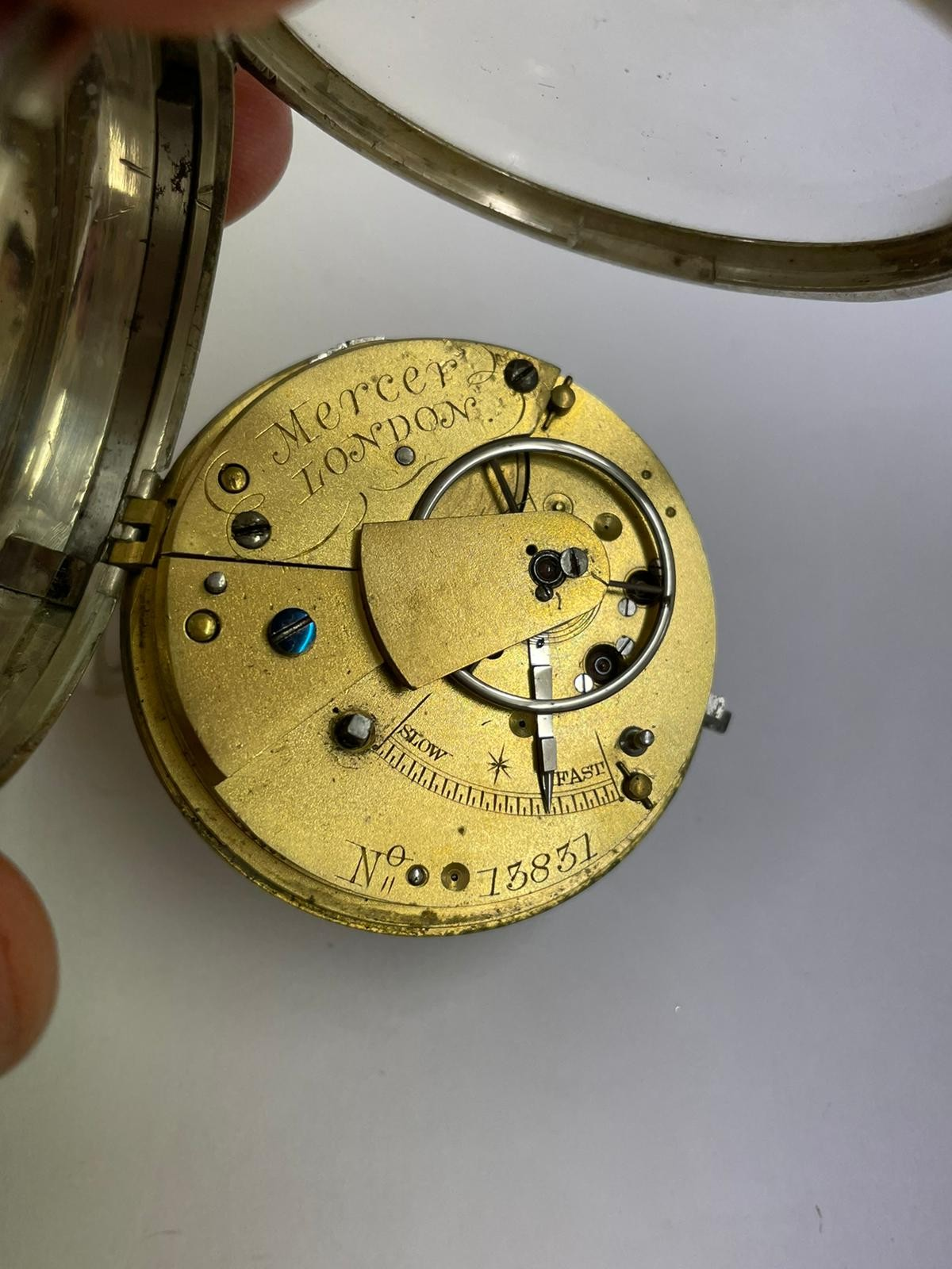 Antique gents silver fusee ( mercer London ) pocket watch no key tick if shaken sold as found - Image 2 of 6