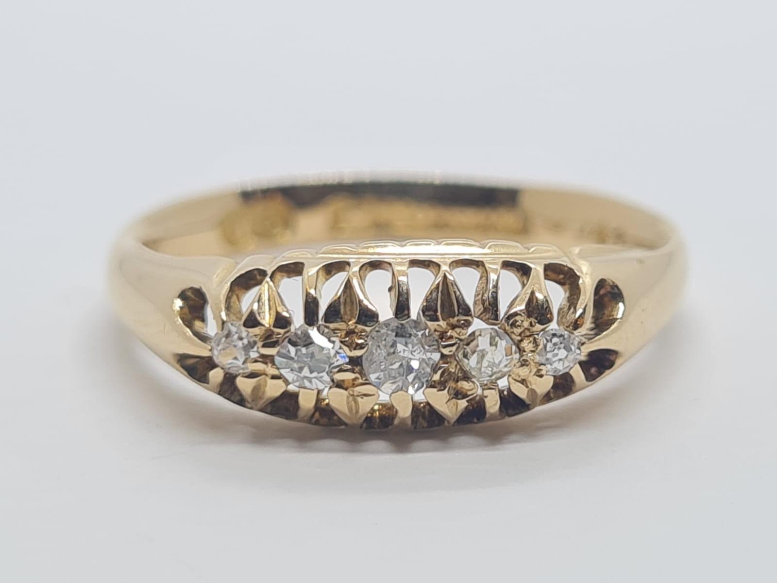 18k Yellow gold vintage DIAMOND 5 STONE SET RING, APPROX 0.15CT DIAMONDS, WEIGHT 2.9g SIZE N
