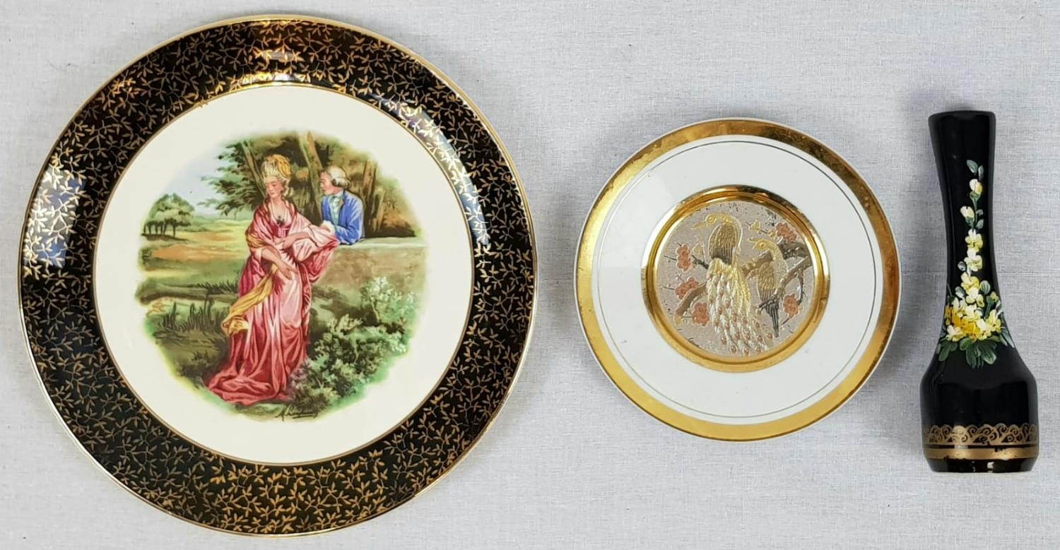 Two Decorative Plates and a Small Hand-Painted Portuguese Vase. A Liverpool Road Pottery -25cm