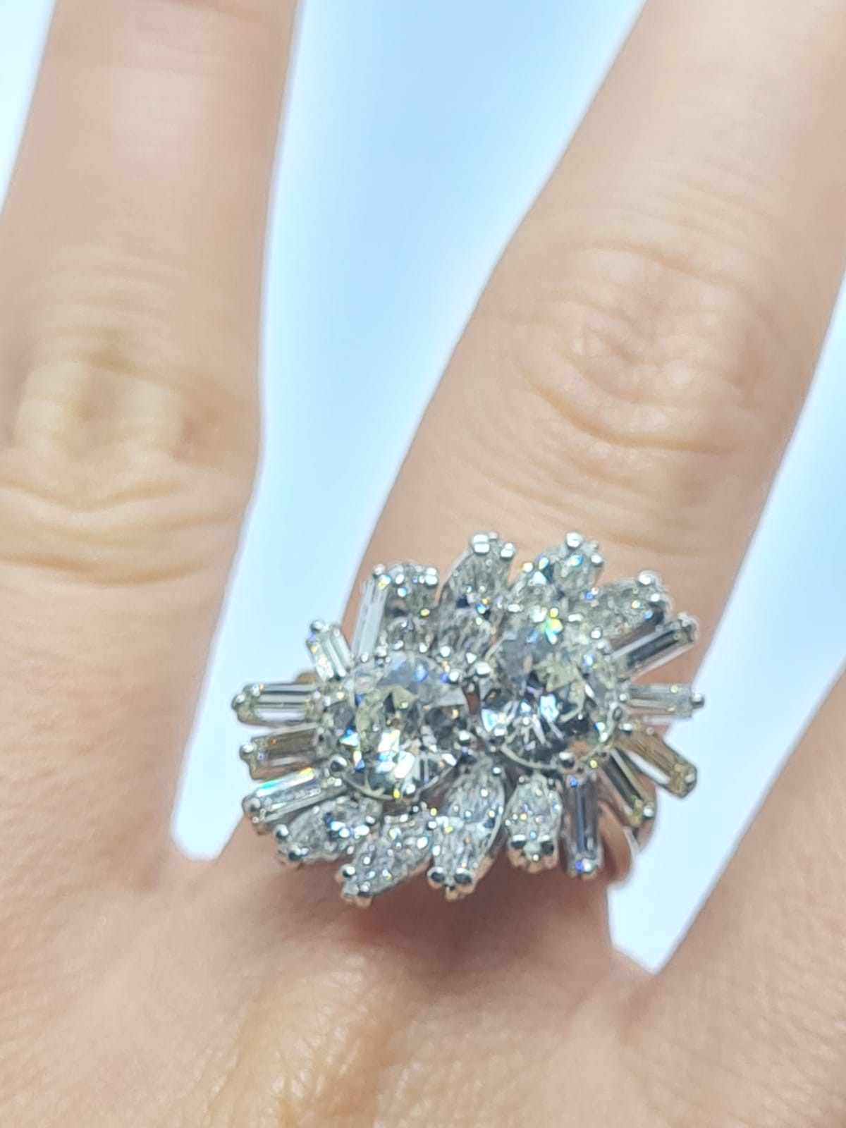 18k white gold diamond cluster ring with approx over 5ct diamonds in total, weight 10g and size M1/2 - Image 9 of 11