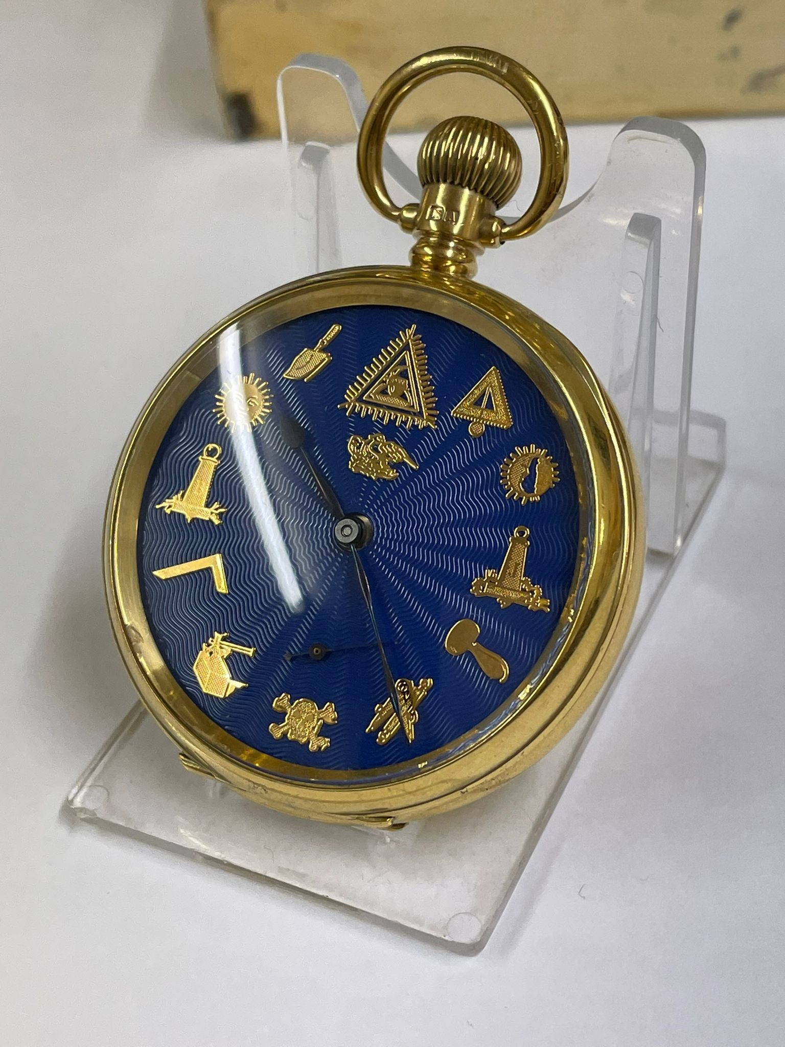 Vintage Masonic Rolex pocket watch with stand good condition and good working order but no - Image 10 of 21