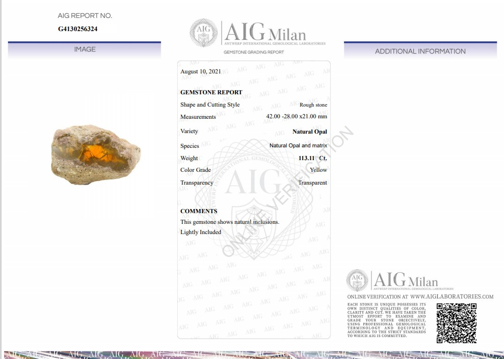 A 113.11ct of Rough Yellow Opal in Natural Form. 42.00x28.00x21.00mm - Image 3 of 6