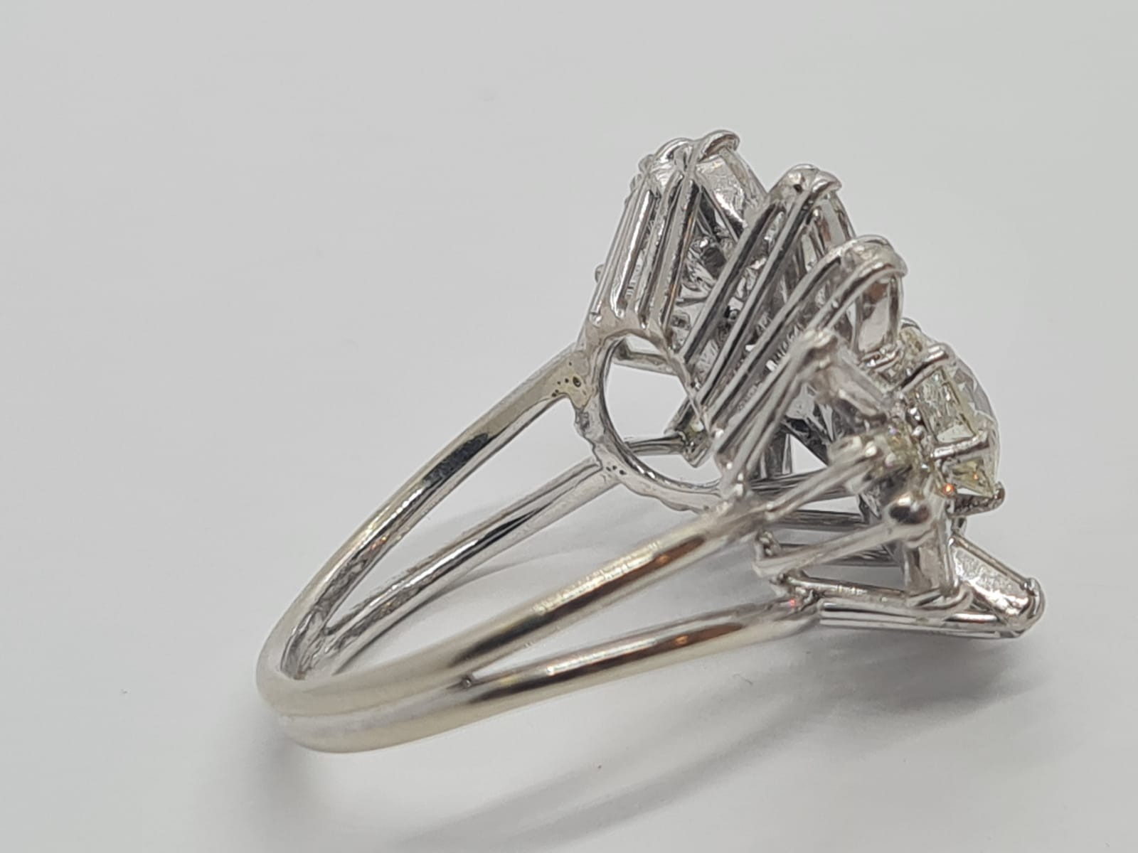 18k white gold diamond cluster ring with approx over 5ct diamonds in total, weight 10g and size M1/2 - Image 11 of 11
