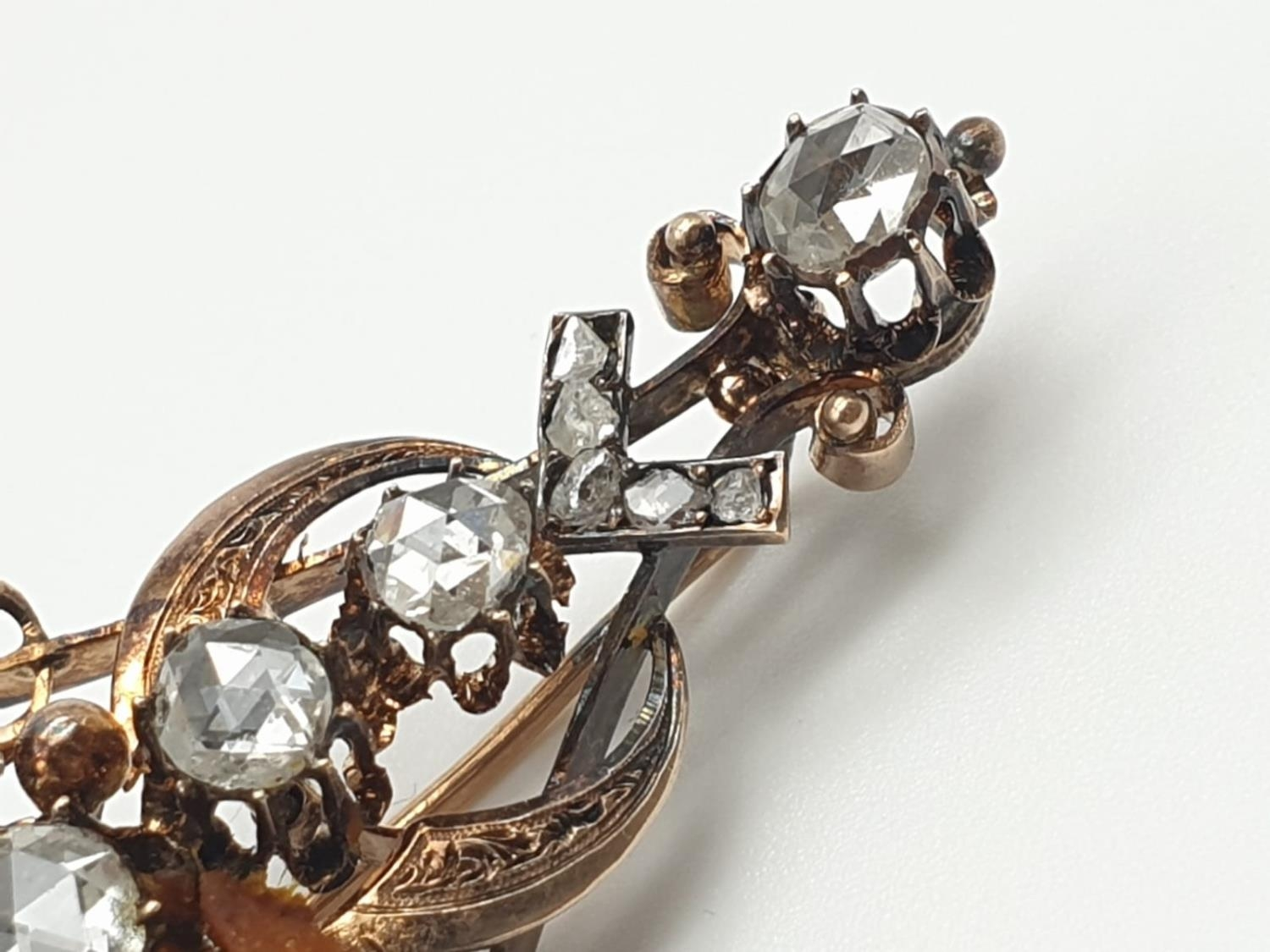 Impressive Antique Edwardian rose gold brooch with over 3ct of rose diamonds, weight 9.1g and 7cm - Image 3 of 5
