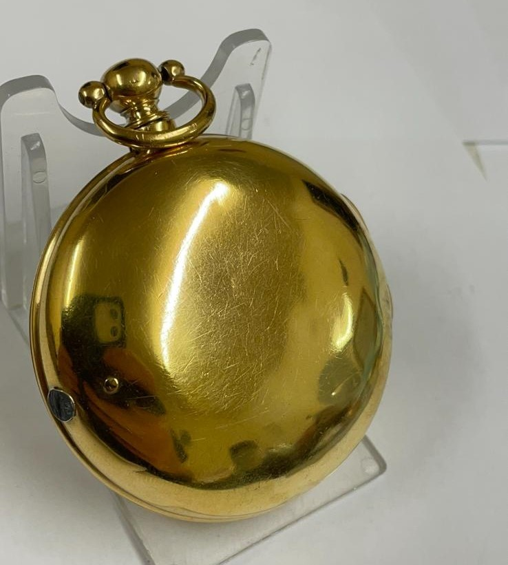 Antique gilt verge fusee pocket watch , working but sold with no garantees 147.8g - Image 4 of 12