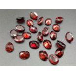 24 x oval cut garnets, 9x6mm total carats 34