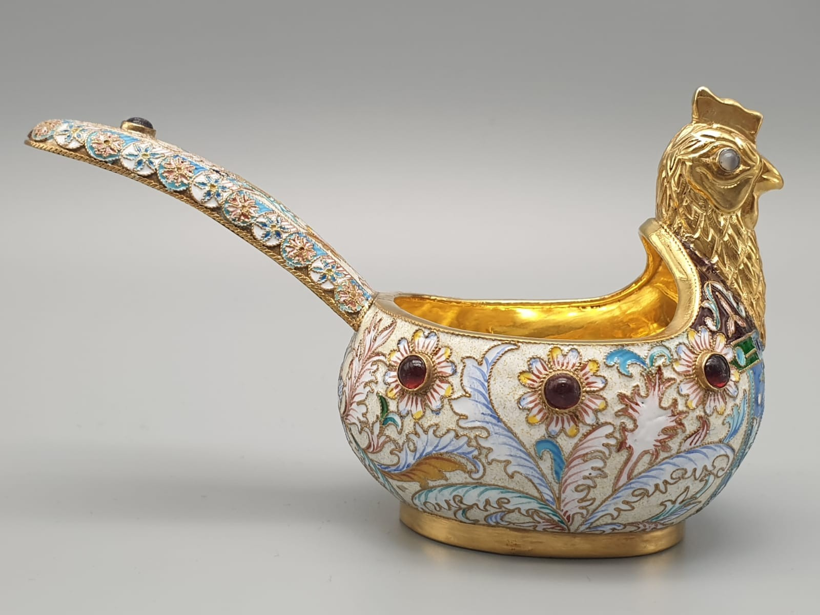 Pair of Russian 20th century silver enamel gemset kavosch bowl in the form of birds, an exquisite - Image 23 of 29