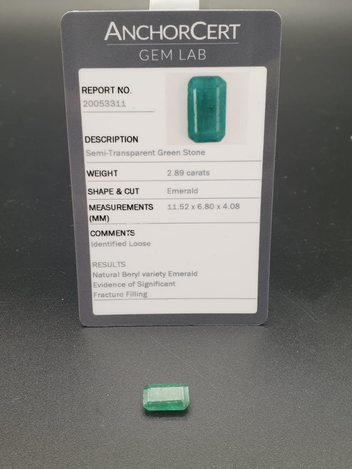 2.89ct octagonal emerald gemstone with original AnchorCert report and Safeguard valuation paper - Image 4 of 5