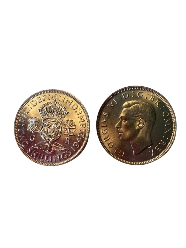 Pair of UNCIRCULATED World War II florins. Both coins dated 1942 in incredible condition with no