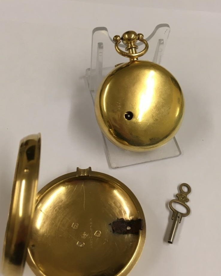 Antique gilt verge fusee pocket watch , working but sold with no garantees 147.8g - Image 11 of 12