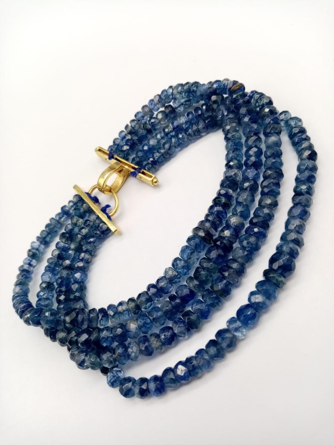 A 4 rows of Kyanite Gemstone Beads Bracelet with Gold Plated Diamond Clasp, 170cts of kyanites, 0.