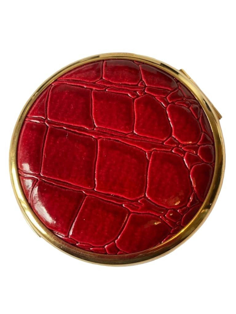 Vintage Stratton nineteen fifties/60s compact, having deep red faux crocodile top With mirrored