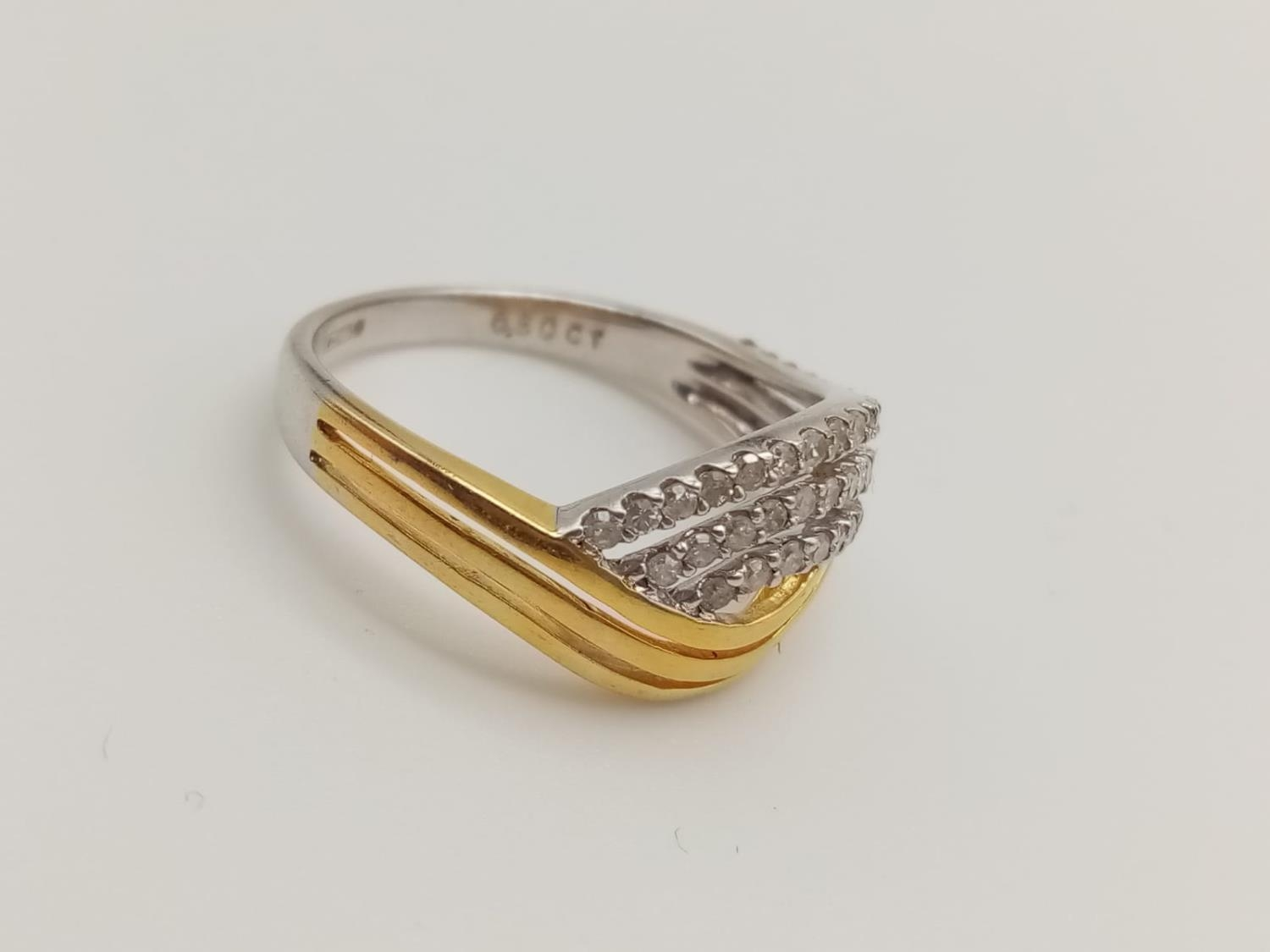 9k yellow and white gold diamond set ring with 0.50ct diamonds, weight 3.2g and size P - Image 3 of 7