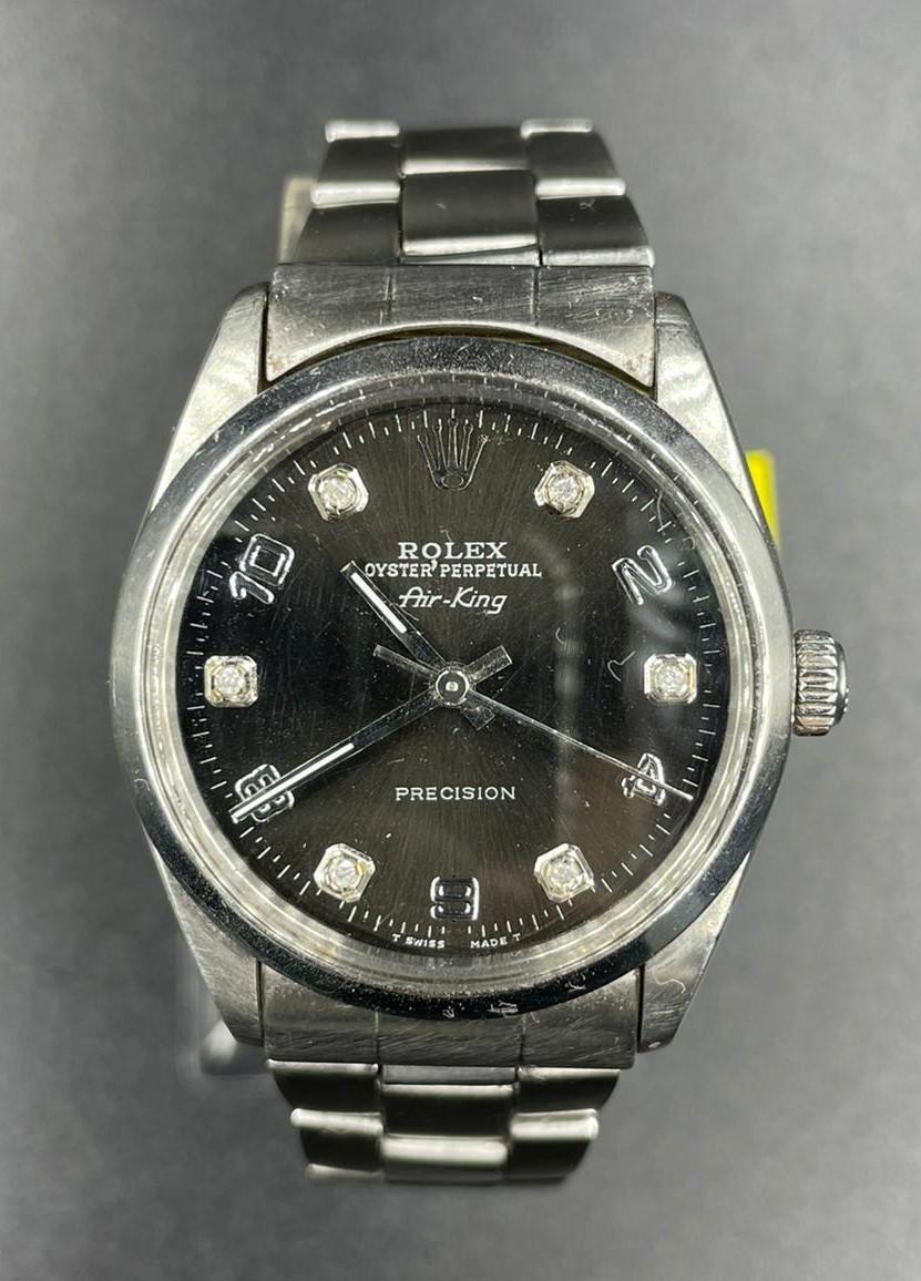 Rolex Air-king Stainless Steel Diamond Dot Dial black face 1998