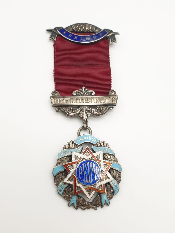 PRIMO Silver enamel medal with original ribbon