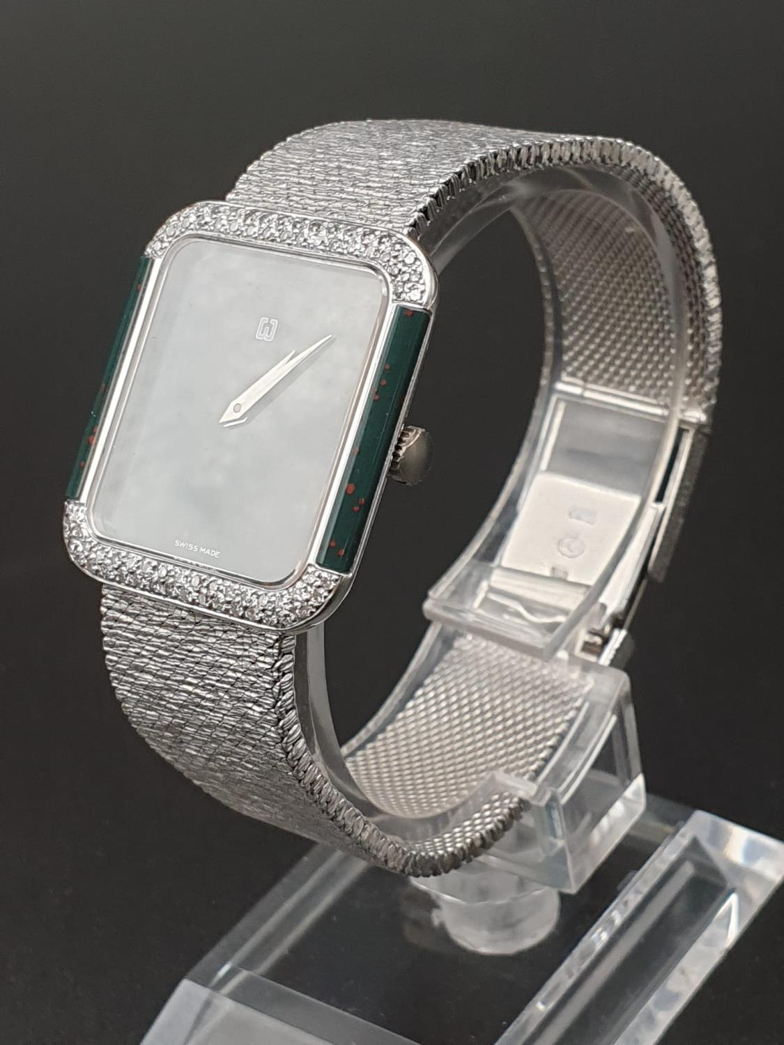AN 18K WHITE GOLD DRESS WATCH WITH HALF DIAMOND BEZEL AND SOLID GOLD STRAP. 26MM - Image 2 of 12