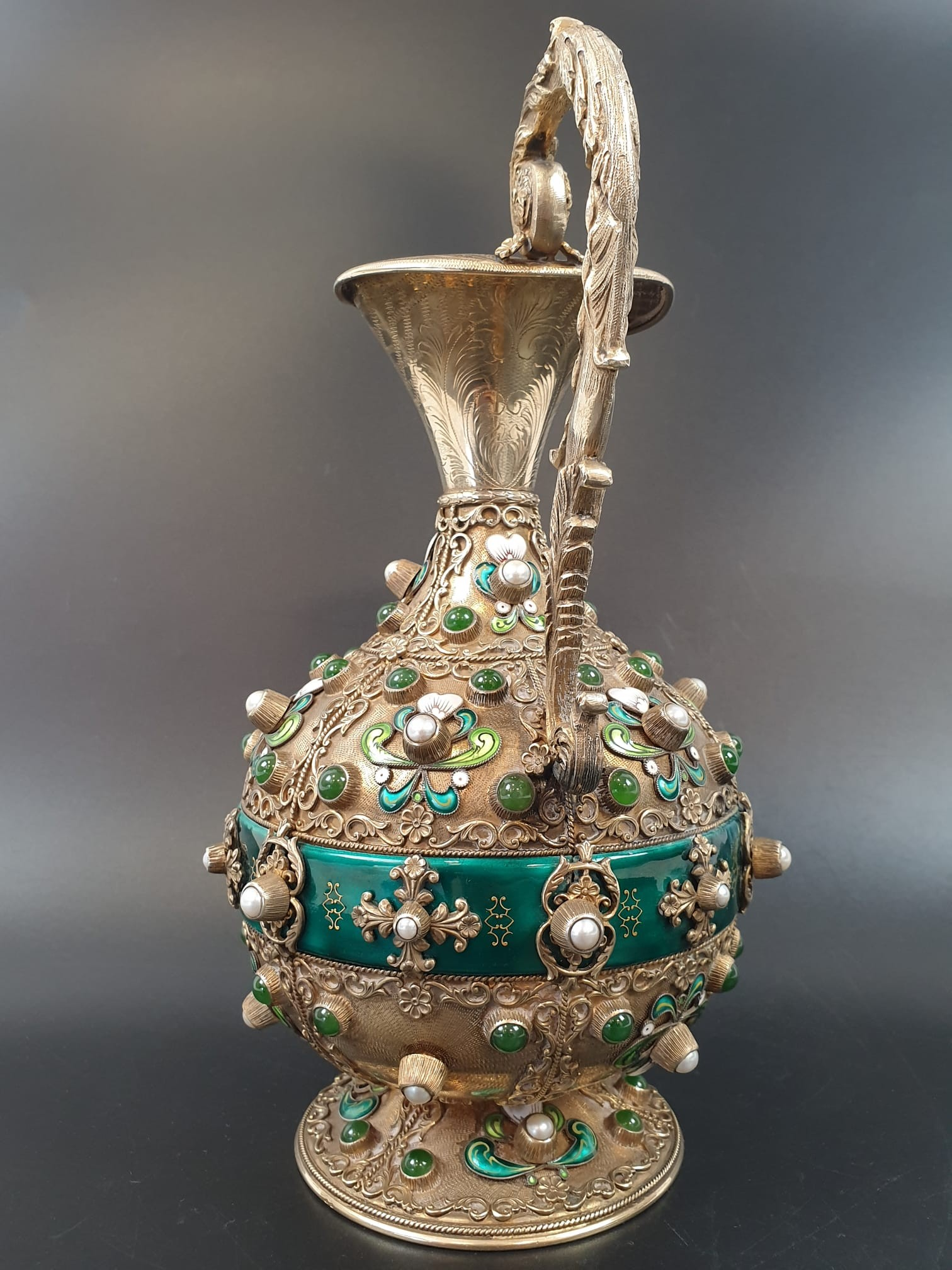 Antique Austrian silver gilt pearl and jade large jug, hand decorated and engraved . 857gms 23 cms. - Image 3 of 15