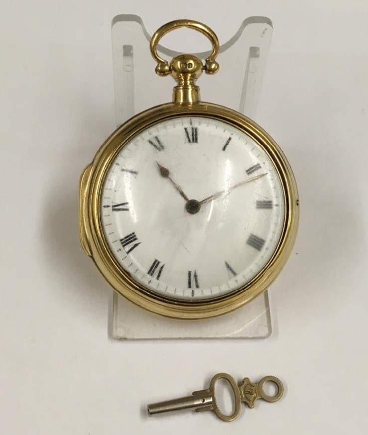 Antique gilt verge fusee pocket watch , working but sold with no garantees 147.8g