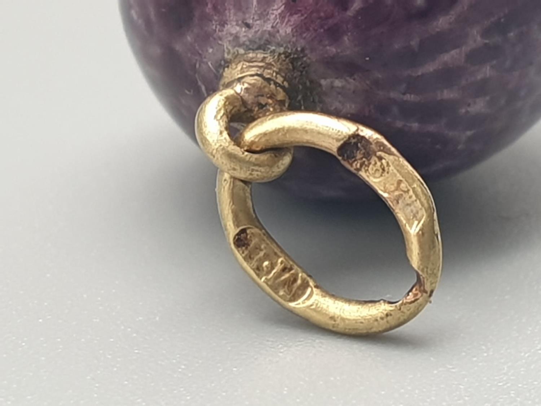 Russian egg pendant 14k enamel purple diamond 20th century. 8.5gms 2cm drop - Image 4 of 6