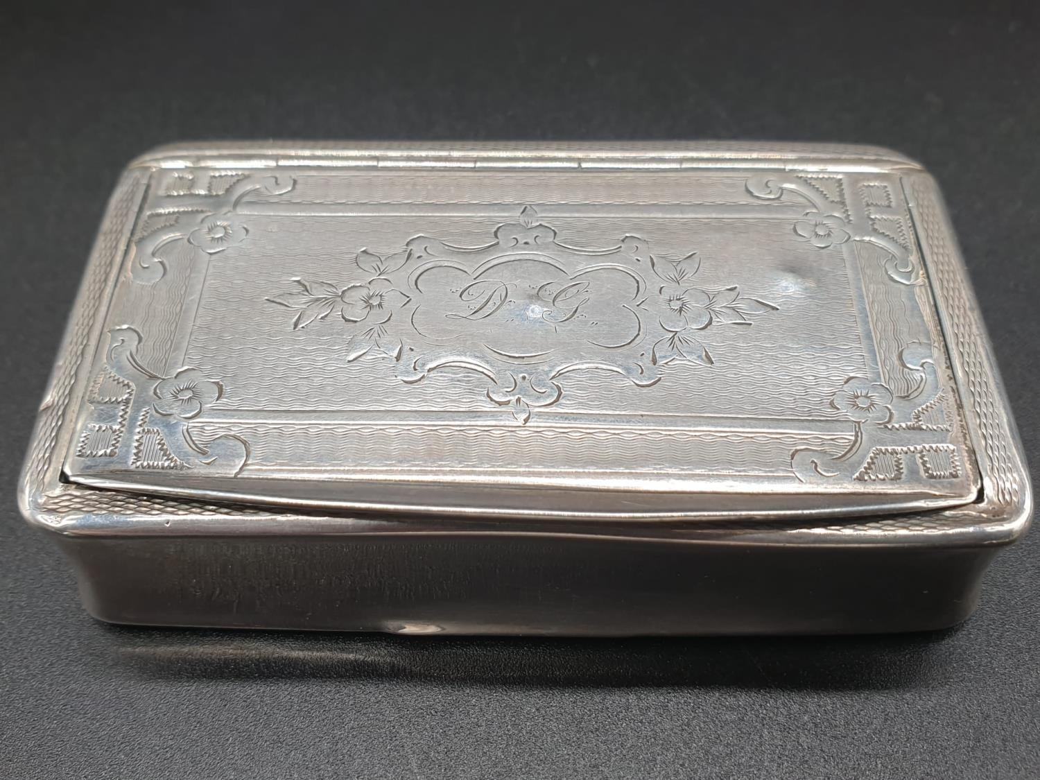 Antique French Gilt Solid Silver 1880s Snuff Box. 7.8cm x 4.5. 54.5g