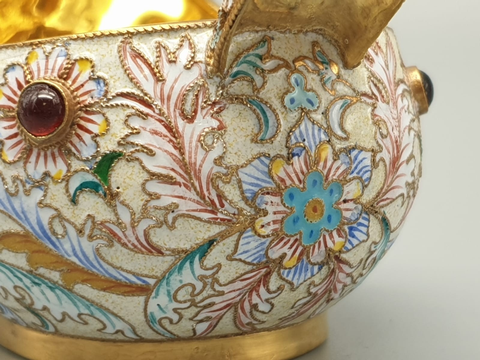 Pair of Russian 20th century silver enamel gemset kavosch bowl in the form of birds, an exquisite - Image 29 of 29