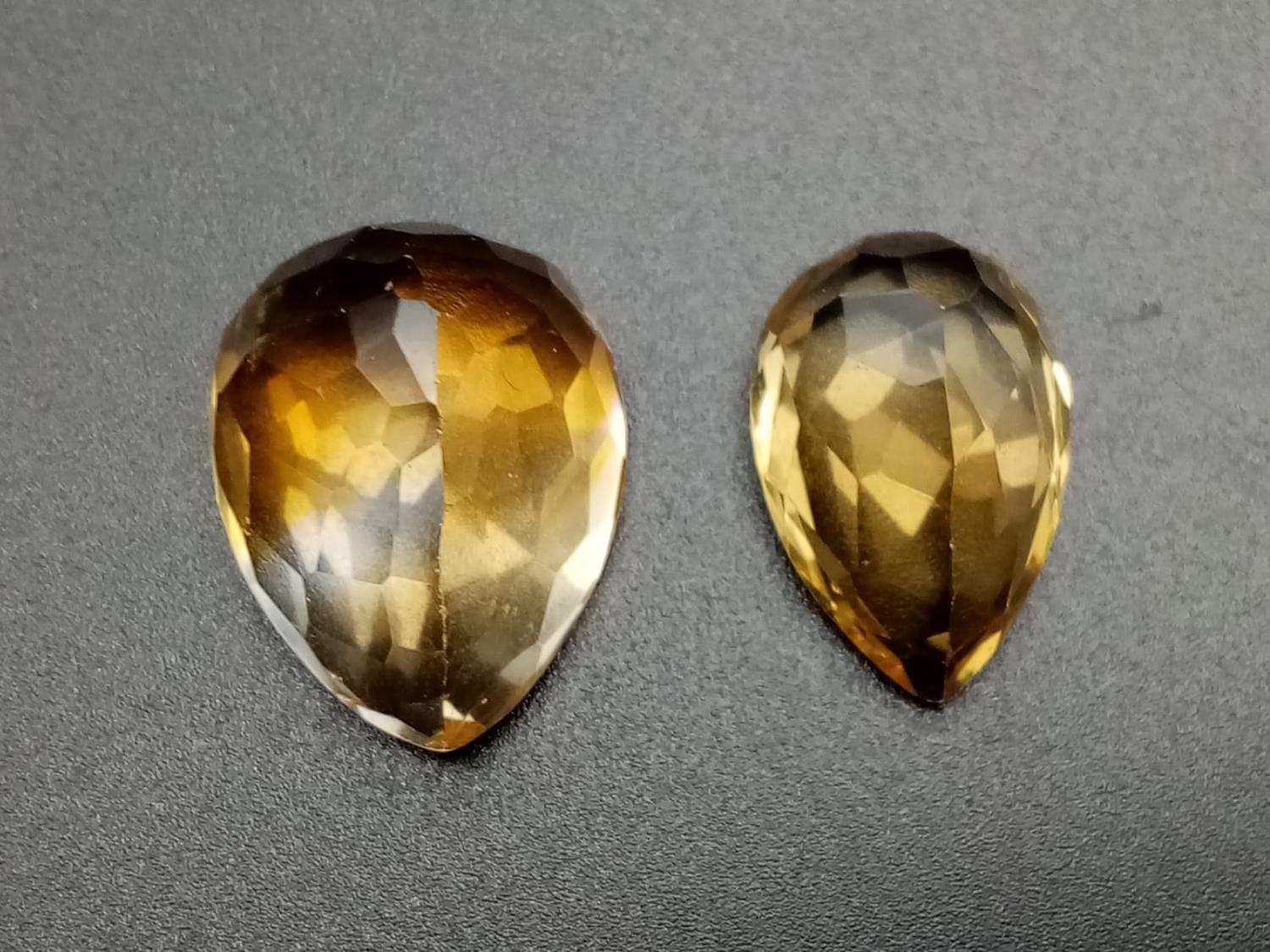 Two large golden citrines pear cut total carats 32.45 - Image 3 of 3