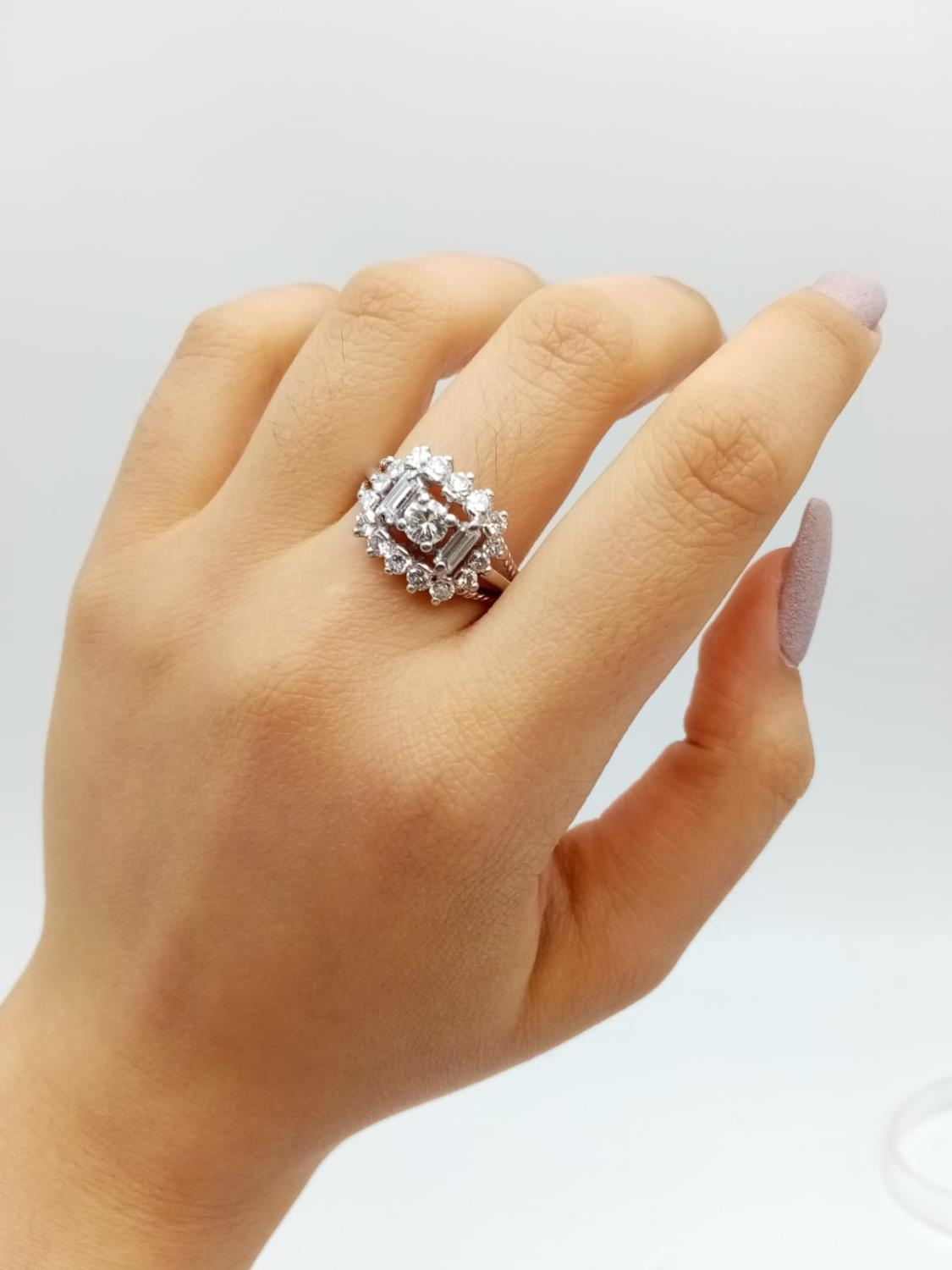 18k white gold diamond ring, WEIGHT 7.6G with over approx 2ct of top quality diamonds, size N1/2 - Image 6 of 6