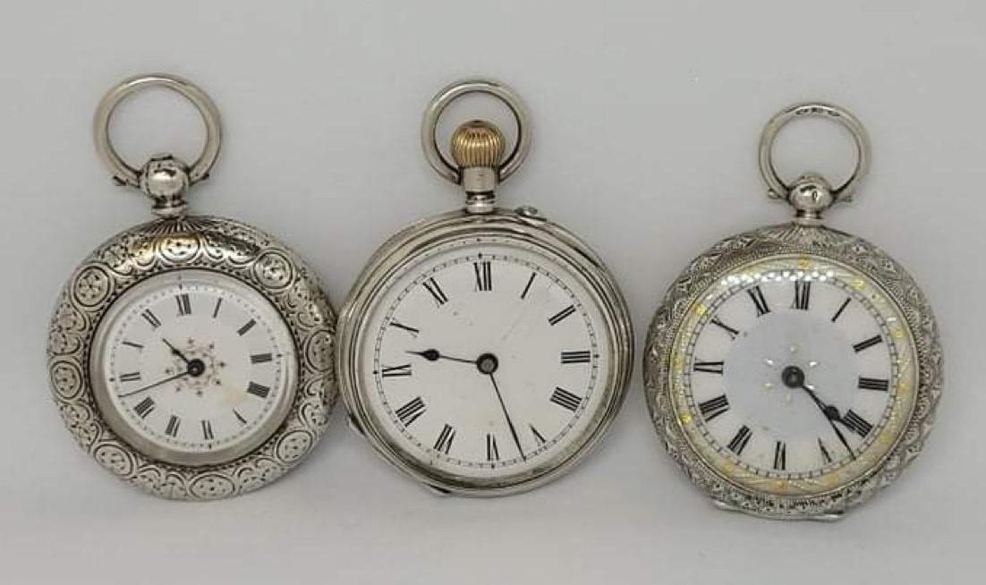 3x Antique silver pocket watch AF