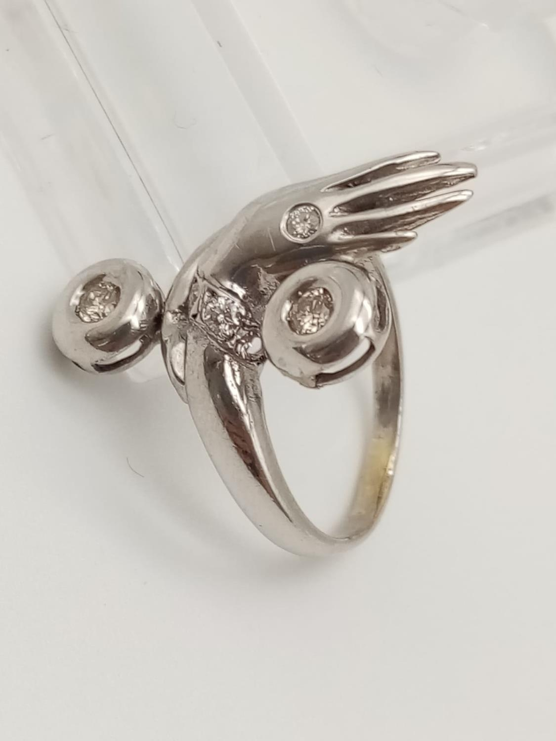 14k white gold diamond set ring in an unusual shape of a hand, weight 5.4g size M1/2 - Image 2 of 4