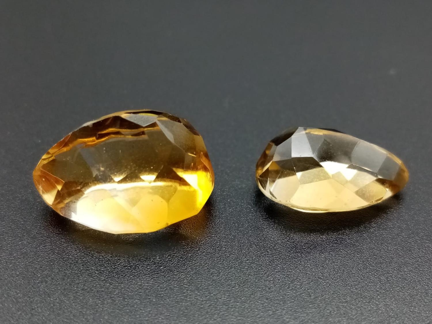 Two large golden citrines pear cut total carats 32.45 - Image 2 of 3