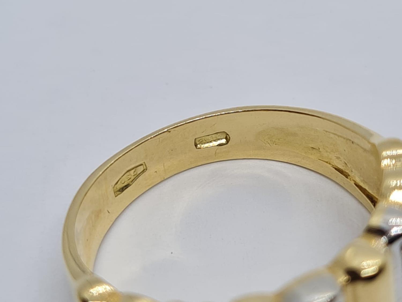18K YELLOW DIAMOND BAND RING WEIGHT 5.5G SIZE L - Image 4 of 5
