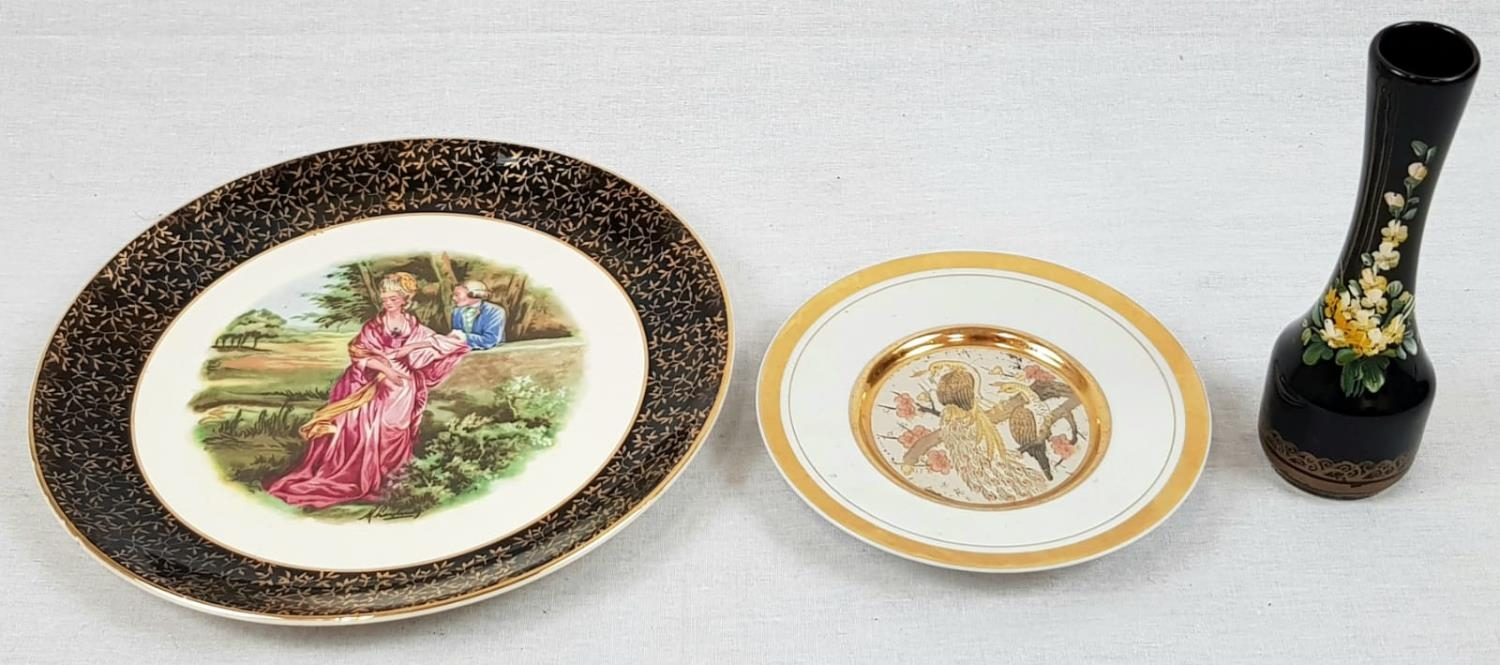 Two Decorative Plates and a Small Hand-Painted Portuguese Vase. A Liverpool Road Pottery -25cm - Image 2 of 5