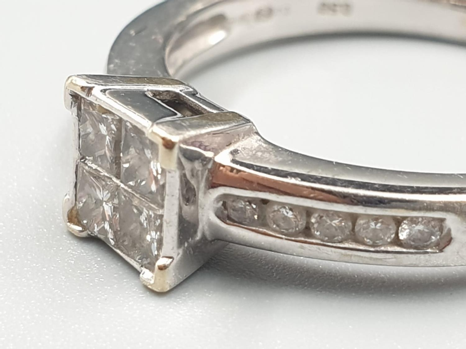 18K WHITE GOLD DIAMOND CLUSTER RING APPROX 0.45CT DIAMONDS WEIGHT 4.5G SIZE Q - Image 2 of 6