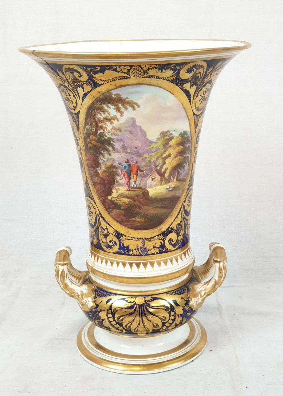 Royal Derby (Crown): In Spain Vase. Spanish 1830. Beautifully Decorated but damaged firing cracks.