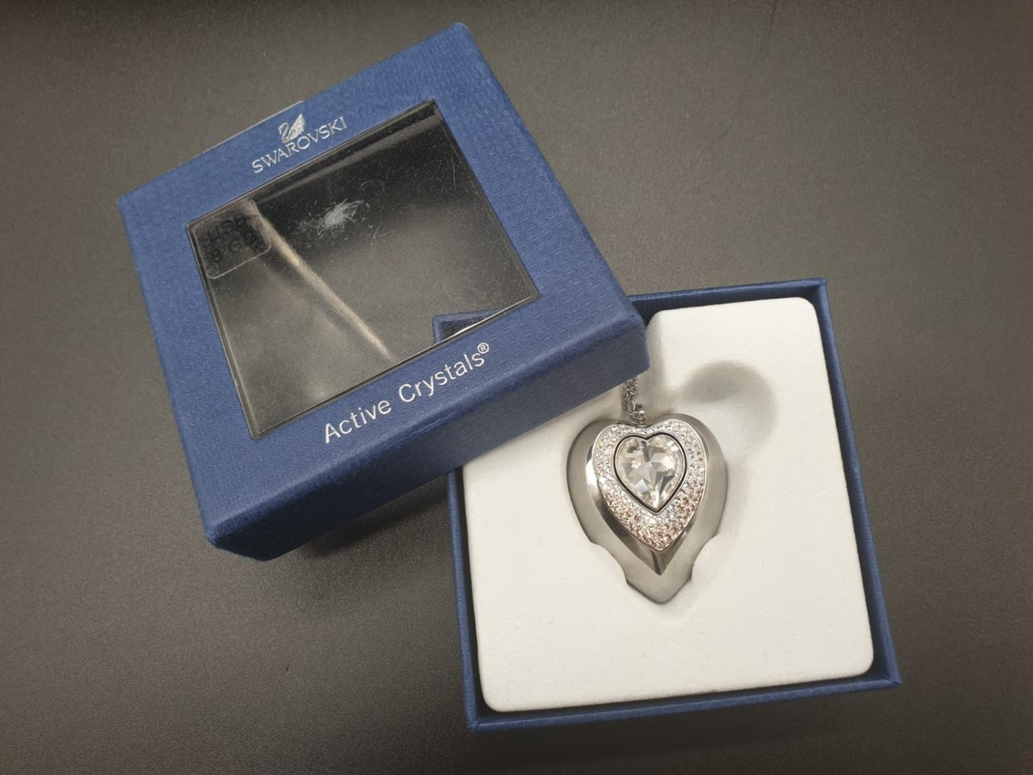 Swarovski Women's Metallic Active Crystal Heart-Shaped Pendant with built-in 8GB USB. 76cm As new, - Image 10 of 10