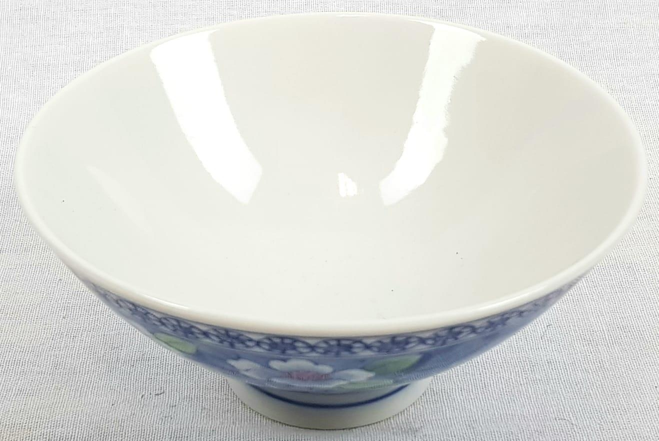 Seven Vintage Decorated Rice Bowls. Signed on base. Floral decoration. 12cm diameter - Image 4 of 6